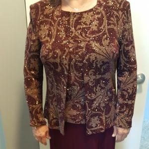 Alex Evenings- burgundy dress with gold thread 10P